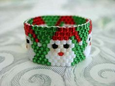 Beadwork Peyote Ring Santa Christmas Beaded Seed Bead - size 10