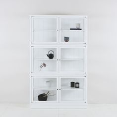 White Medium Glass Cabinet by Oliver Furniture