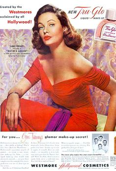 Westmore Hollywood Cosmetics Gene Tierney - www.MadMenArt.com | Alluring Vintage Magazine Covers. Over 1000 issues which could be said to have sex appeal. The blurred line between sex appeal and sexism. #VintageMagazineCovers #Vintage #VintageMagazines #SexAppeal