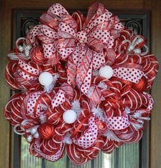 mesh wreaths | Red and White Christmas Deco Mesh Wreath by JoowaBean on Etsy
