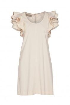 Sukienka kremowa ze złotym połyskiem