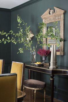 green + yellow dining room. Jessie D Miller Designs