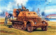 Sd.kfz. 7/1 (Early version) 2 cm Flakvierling 38 auf Selbstfahrlafette, 8 ton. con cabina acorazada