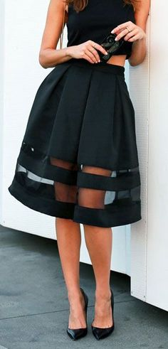 #street #style black sheer skirt @wachabuy midi skirt with transparency. Black stilettos.