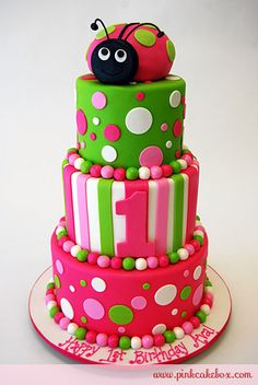 Jamie,  Maybe something like this.....doesn't have to be exact...just the idea of the round cakes...maybe just two, though.  With the ladybug smash cake on top.  We are doing pink and green (I think you said brown instead of black on the ladybug because of taste).