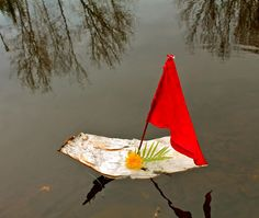 """Make a """"bark boat""""! I want to play a game throwing rocks at these to knock their """"sailors"""" out. ;D"""