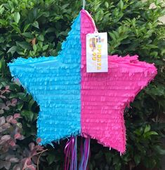 Gender Reveal Pull Strings or Whack Pinata Christmas Stocking Pinata Pink or Blue He or She?