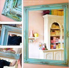 """Heather's gold ornate mirror painted with a """"few dollops of Jamaica Blue and a smattering of chartreuse ala moi."""" ~ From http://heatherbailey.typepad.com/heather_bailey/2007/01/not_gildy.html"""
