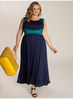 "IGIGI Plus Size Clothing by Yuliya Raquel ""Vivian"" Maxi Dress in Turquoise/Navy Blue, $170 via IGIGI.Com --- I'm not a maxi dress fan myself, but I do think this company does some of the best versions on the market. For example, the criss-cross contrasting colors define the empire waist & the fit flares out from there. Not the shapeless bag cop-out so typical of other brands/designers!"