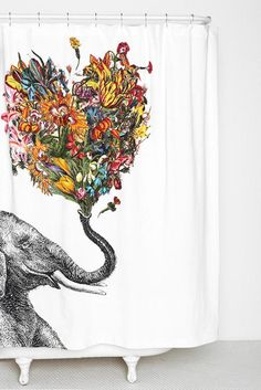 RococcoLA Happy Elephant Shower Curtain - Urban Outfitters this is awesome! Happy Elephant, Elephant Love, Elephant Art, Elephant Stuff, Colorful Elephant, Elephant Trunk, Image Elephant, Elephant Shower Curtains, Elephant Bathroom Decor