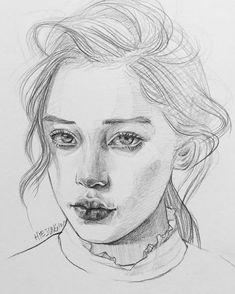 HYEJUNG1011 Portrait Sketches, Pencil Portrait, Portrait Art, Illustration Sketches, Illustrations And Posters, Drawing Sketches, Kpop Drawings, Pencil Drawings, Art Drawings