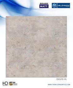 """Millennium Tiles 800x800mm (32x32) Vitrified Matt Porcelain XL Tiles Series """"Davis HL"""""""