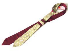 Купить Женский двухсторонний галстук бордово-зеленого цвета, хлопок - бордовый, цветочный, зеленый, оливковый