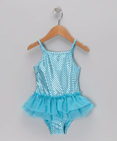 Take a look at the Baby Buns Aqua Polka Dot Skirted One-Piece - Infant & Toddler on #zulily today!