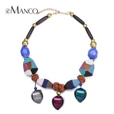 Painted wooden bead necklace colorful handmade choker necklaces women 2015 acrylic flowers pendant ethnic necklace eManco