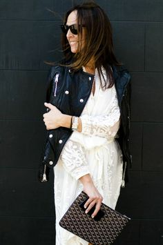 Transition your dresses into Spring by pairing them with a structured black jacket to keep your arms warm.