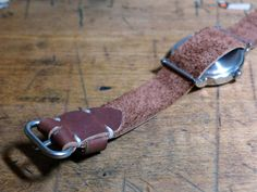 The Single Malt  Horween Chromexcel brown pass-through watch