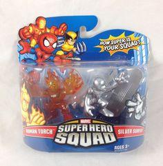 Marvel Super Hero Squad Human Torch Silver Surfer 2-Pack Figure Set 2008 Hasbro #Hasbro