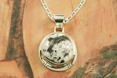 Stunning Pendant featuring Genuine White Buffalo Turquoise set in Sterling Silver. This Beautiful Stone is formed from the minerals Calcite and Iron. It is mined near Tonopah Nevada. Free 18