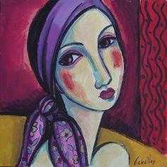 Mujer con pañuelo lila/ Gouache sobre papel, 30x30 cm/  G. Martí Ceballos