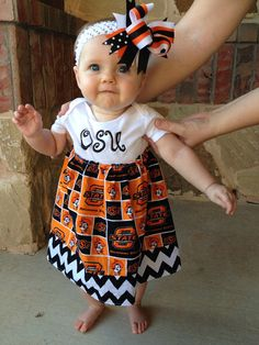 Oklahoma State Onesie Dress for Baby Girls by TheLaughingLoon, $29.00