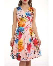 Multicolored Abstract Floral Print Skater Dress