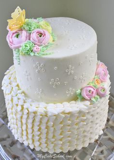 Beautiful Buttercream Eyelet Cake Tutorial by MyCakeSchool.com. Also featuring buttercream leaves and flowers! My Cake School Online cake tutorials, recipes, videos, and more!