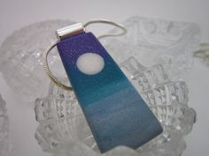 Purple Teal and Silver Pearl of Wisdom Moon Pendant by PohdDesign