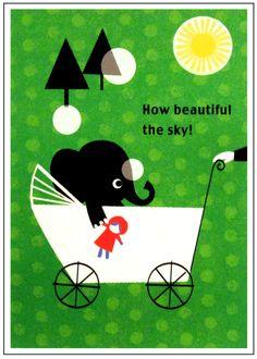 Shinzi Katoh Green Elephant Postcard http://shop.kawaiidepot.com