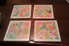 coasters made from tile and scrapbook papers
