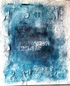 100x120  mischtechnik Sonja Bittlinger  blau/weiss  Tafel