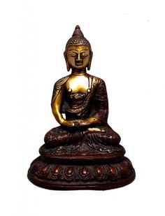 (sku no:buddha brass Indian Religious Gift Two Tone Lord Buddha Brass Idol Sculpture Statue Kali Statue, Saraswati Statue, Lord Shiva Statue, Krishna Statue, Brass Statues, Indian Crafts, Durga Goddess, Religious Gifts, Indian Gods