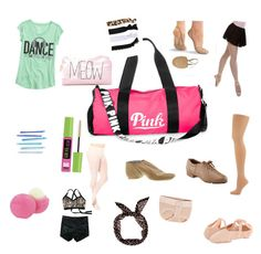 """What's in my dance bag"" by amam120305 ❤ liked on Polyvore featuring beauty, Victoria's Secret PINK, Maybelline, Forever 21, Capezio Dance, Glam Bands, Bloch and Eos"
