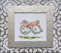 Sheep cross stitch - Completed cross stitch - Framed needlepoint - Love wall decor - Framed cross stitch - Unique wedding gift