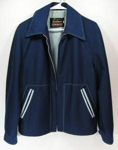retro mens jacket medium blue polyester metal zipper by moivintage, $59.99