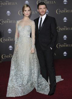 Lily James, wore this lovely Elie Saab gown which made her look like a princess. And remember how Louboutin made Angelina Jolie and Elle Fanning special themed shoes for Maleficent? Yes, they're still doing that – Lily is wearing special Cinderella-themed Louboutins. Bonus Richard Madden