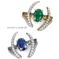 Le Phoenix single claw rings in Emerald and sapphire! Kavant & Sharart www.kavantandsharart.com