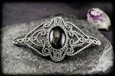 NEW Silver Obsidian Macrame Bracelet. Boho Jewelry. от MacrAmorArt