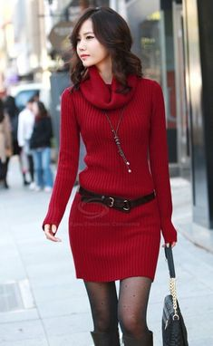 Fall Style - Dark Red, Simple & Mix-Material, Long Sleeves, Turtleneck Sweater Dress. | dresslily.com