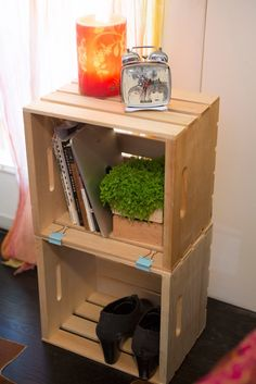 Crate bedside table - Check out The Home Depot in store and online for our large crate http://thd.co/1OQmlcR