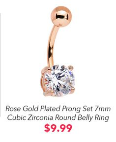 Classic and delicate, this rose gold plated over 316L surgical grade stainless steel curved barbell and clear cubic zirconia gem bottom mount charm speak volumes when worn. Compliment your refined look with a little bit of glitz and glamour when you wear this navel piercing around the house or around the town and show the world your effortless style. Piercings, Piercing Tattoo, Belly Button Piercing, Belly Button Rings, Ring Designs, Tattoo Designs, Dangle Belly Rings, Belly Bars, Gold Plated Rings