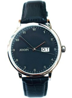JOOP! men's watch with black leather strap and big date. From €210 for €105-. See more at - www.megawatchoutlet.com