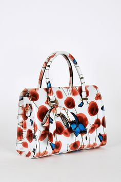 Butterfly And Poppy Design Patent Handbag In White