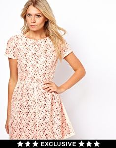 Image 1 of Oasis Lace Skater Dress With Contrast Lining