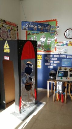 Space Station role play area for my Foundation 2 class. They're really into rockets and loved being astronauts!