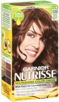 Garnier Nutrisse Haircolor, 535 Medium Golden Mahogany Brown Chocolate Caramel by Garnier. $7.49. Double the nourising avocado oil. Rich, long lasting color, nourishing avocado conditioner, 100% gray coverage. Can be used immediately after coloring hair or up to 14 days after. Rich, healthy-looking color- experience garnier nutrisse, a nourishing color treatment that gives you rich, healthy-looking color that really lasts. The exclusive color treatment, enriched with conditioners...