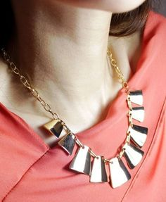 Multi Gold Metal Square Pendant Necklace from Chicnova