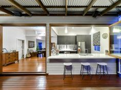 Indoor to Outdoor Kitchen Bar Space Indoor Outdoor Kitchen, Home, Home Kitchens, Outdoor Kitchen Design, Kitchen Renovation, Diy Outdoor Kitchen, Modern Kitchen, Kitchen Style, Home Renovation