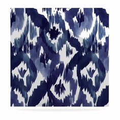 "Crystal Walen ""Indigo Ikat"" - Blue Diamond Luxe Square Panel"