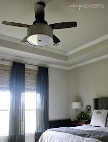 CEILING FAN HIDDEN IN SHADE   FINALLY ME AND MY HUSBAND CAN AGREE     Crazy Wonderful  fantastic DIY drum shade light fixture on a Hunter  Highbury ceiling fan